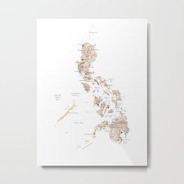 Map of Philipines in neutral watercolor Metal Print