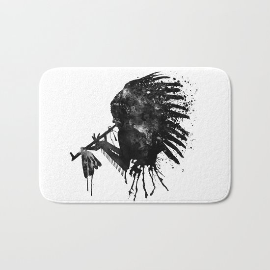 Indian with Headdress Black and White Silhouette Bath Mat