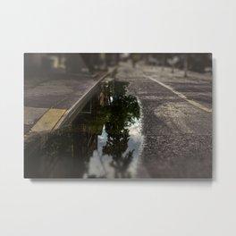 City street, puddle, pool, water, downtown, Manhattan, New York (2020-6-GNY166) Metal Print