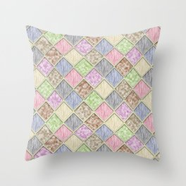 Colorful Seamless Rectangular Geometric Pattern IV Throw Pillow