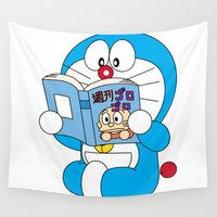 comic book Wall Tapestries featuring Doraemon Reading Comic Book by Timeless-Id
