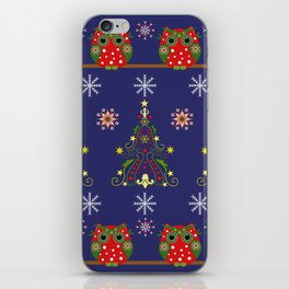 Pattern design with Christmas owls, trees and snowflakes iPhone Skin