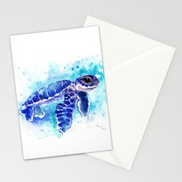 Blue Hawaiian Sea Turtle, Turquoise Blue Cute Animal Sea world Art Stationery Cards