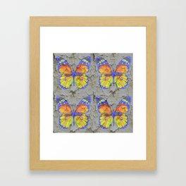 SHABBY CHIC YELLOW & BLUE BUTTERFLIES Framed Art Print