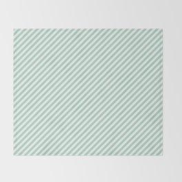 Diagonal Mint Stripes Throw Blanket