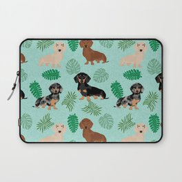 dachshund summer tropical monstera palms dog breed pure breed pets Laptop Sleeve