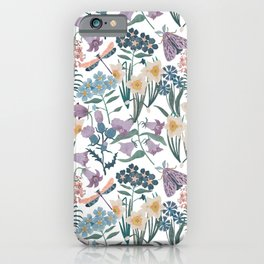 Wildflowers, moth, dragonfly iPhone Case