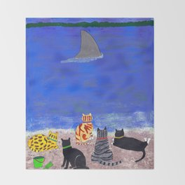 Cats on the Beach Throw Blanket