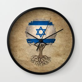 Vintage Tree of Life with Flag of Israel Wall Clock