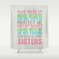 sisters Shower Curtains featuring sisters by studiomarshallarts