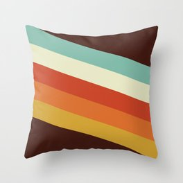Renpet - Colorful Classic Abstract Minimal Retro 70s Style Stripes Design Throw Pillow