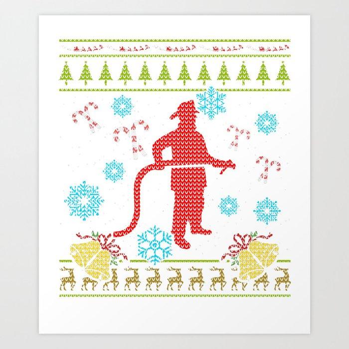 Firefighter Christmas Shirt.Firefighter Christmas Ugly Shirt Sweater Ugly Design Art Print By Shoppzee