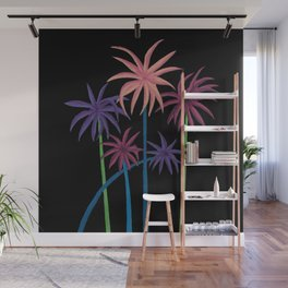 Neon Palms on Black Wall Mural