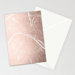 Paris France Minimal Street Map - Rose Gold Glitter on White Stationery Cards