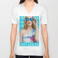 iggy azalea V-neck T-shirts featuring Iggy Azalea Blue by Illuminany