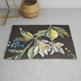 Branch with White Lemon Flowers and Yellow Fruit. Rug