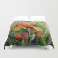 iris Duvet Covers featuring Iris by OLHADARCHUK