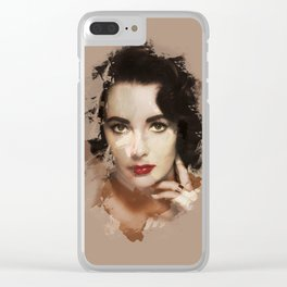 Paint-stroked Portrait: Elizabeth Taylor Clear iPhone Case