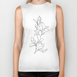 Botanical illustration line drawing - Magnolia Biker Tank