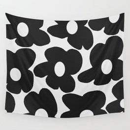 Black Retro Flowers White Background #decor #society6 #buyart Wall Tapestry