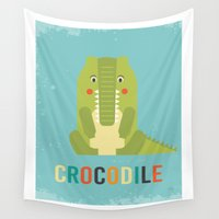 crocodile Wall Tapestries featuring Retro Crocodile by Petit Griffin