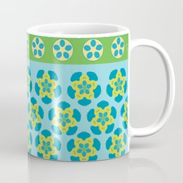 Ethnic Star Motif Pattern Green Blue Coffee Mug