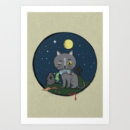 Cats love zombie meat! Art Print