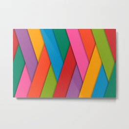 Bright Colored Overlapping Angled Lines Metal Print
