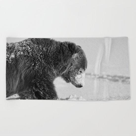 Alaskan Grizzly Bear in Snow, B & W - I Beach Towel