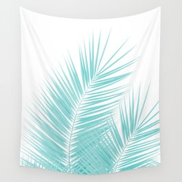 Soft Turquoise Palm Leaves Dream - Cali Summer Vibes #1 #tropical #decor #art #society6 Wall Tapestry