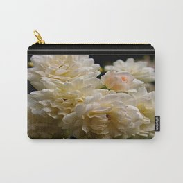 white roses and a light pink bud  Carry-All Pouch