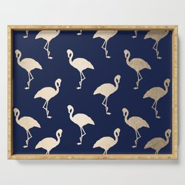 Gold Flamingo Pattern Navy Blue Serving Tray