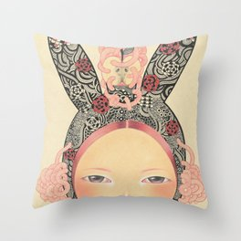 Bunny Girl Throw Pillow