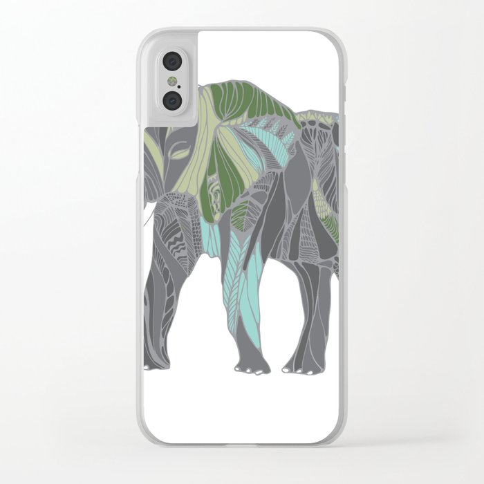 Elephant with Green and Turquoise Clear iPhone Case