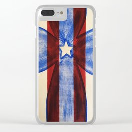 America Red White Blue Cross Clear iPhone Case
