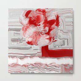 Red and White Woven Flower Pattern Metal Print