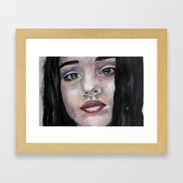Portrait of beautiful girl, face, original art, oilpainting Framed Art Print