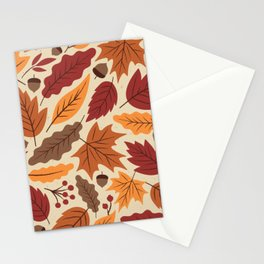 Vintage autumn leaves - fall leaves hand drawn on yellow background illustration pattern Stationery Cards
