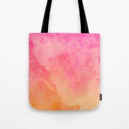Modern summer hand painted pink orange sunset watercolor wash Tote Bag