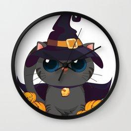 Black Cat With With Jack O Lantern Halloween Shirt Wall Clock