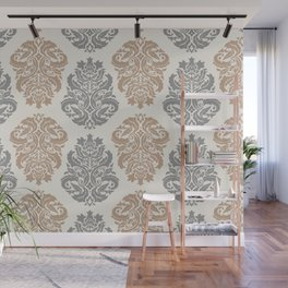 Liberty Floral Damask Pattern – Neutral Brown and Gray Earth Tones Wall Mural