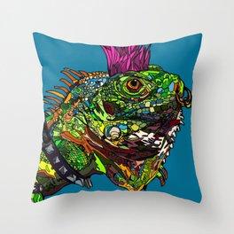 Punk Iguana Throw Pillow