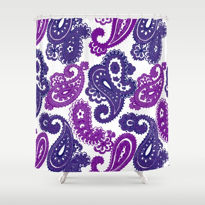Fun Purple Paisley Shower Curtain By Ariadne