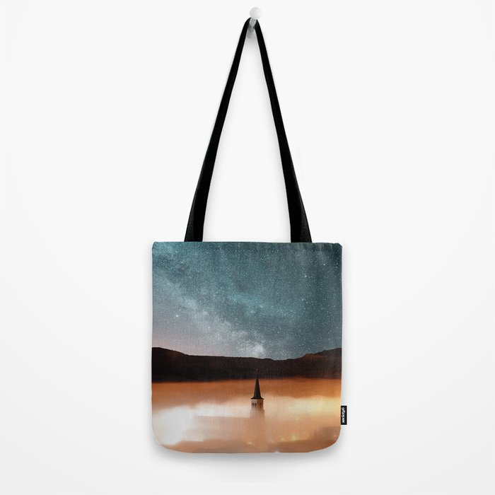 Foggy Landscape #church Tote Bag