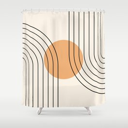 Geometric Lines in Black and Beige 14 (Rainbow and Sun Abstraction) Shower Curtain