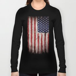 Wood American flag Long Sleeve T-shirt