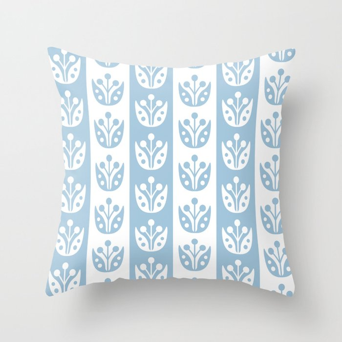Mid Century Modern Flower Stripes Pattern Pale Blue Throw Pillow