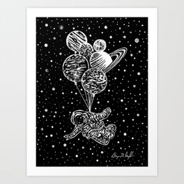 'SOAR' Original Astronaut Drawing - Outer Space - Planets - Wall Art Art Print