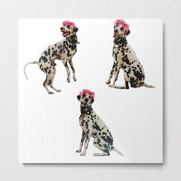 Flower crown Dalmatian Metal Print