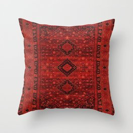 Red Traditional Oriental Moroccan & Ottoman Style Artwork. Throw Pillow